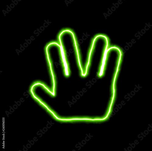 Obraz na płótnie green neon symbol Live long and prosper