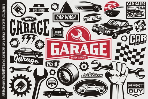 Fototapeta Car service and garage symbols, logos, emblems and icons collection