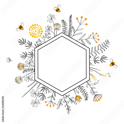 Canvas Print Frame with honey flowers and bees. Cartoon vector illustration