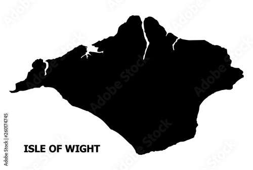 Photo Vector Flat Map of Isle of Wight with Caption