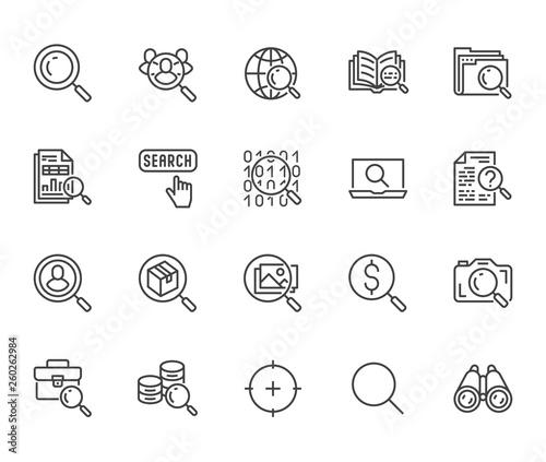 Photo Data search flat line icons set