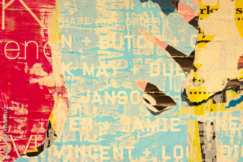 Wallpaper Mural Old grunge ripped torn vintage collage colorful street posters creased crumpled