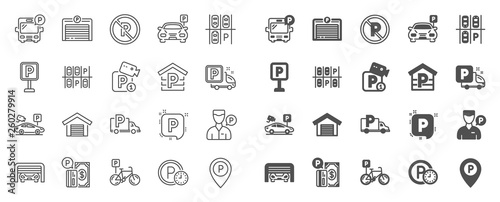 Fotografie, Obraz Parking line icons