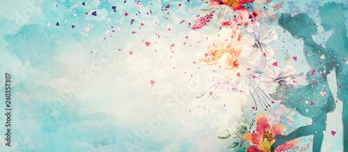 Romantic date. Watercolor illustration. Love concept