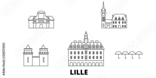 France, Lille flat travel skyline set Tapéta, Fotótapéta