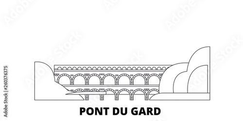 Valokuvatapetti France, Pont Du Gard  flat travel skyline set