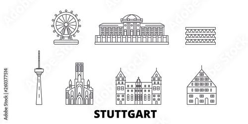 Germany, Stuttgart flat travel skyline set Fototapeta