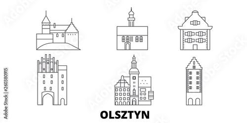 Poland, Olsztyn flat travel skyline set. Poland, Olsztyn black city vector panorama, illustration, travel sights, landmarks, streets.