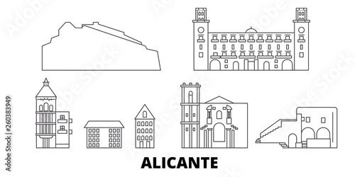 Spain, Alicante flat travel skyline set Fotobehang