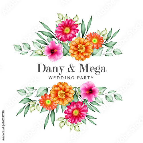 Leinwand Poster beautiful watercolor floral  wedding card