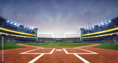 Canvas Print Grand baseball stadium field diamond daylight view, modern public sport building 3D render background