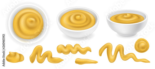 Fotografie, Obraz Set of realistic mustard sauce elements