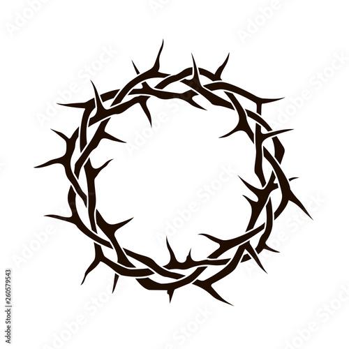 Carta da parati black crown of thorns image isolated on white background