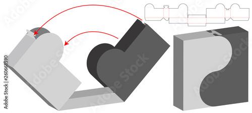 Fotografia Box packaging die cut template design. 3d mock-up