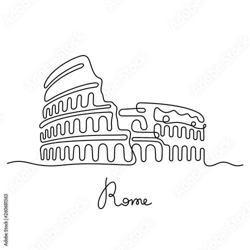 Rome, Coliseum continuous line vector illustration Fototapeta