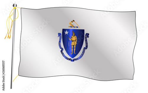 Fotografie, Obraz Massachusetts State Waving Flag And Flagpole