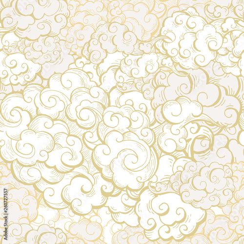 Chinese clouds hand drawn vector seamless pattern Fototapeta