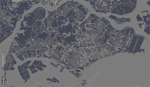 Canvas Print map of the city of Singapore, Republic of Singapore