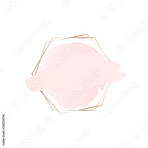 Abstract pink brush background with hexagon geometric frame. Logo background for beauty and fashion