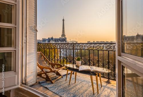 beautiful paris balcony at sunset with eiffel tower view Tapéta, Fotótapéta