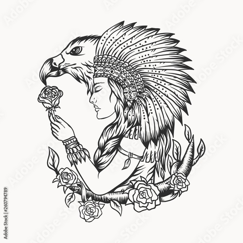 female native american eagle vector illustration Fototapeta