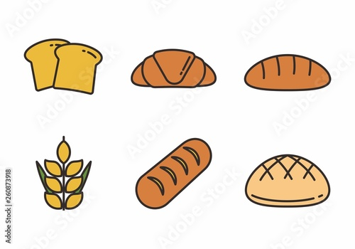 Stampa su Tela Set of bread vector illustration with simple design. Bakery icon