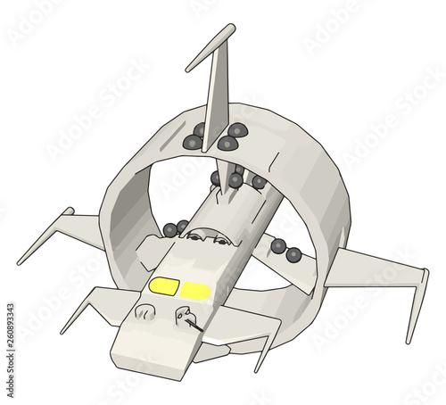 Stampa su Tela White round sci-fi battlecruiser vector illustration on white background