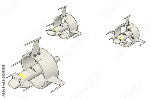 Foto White round sci-fi battlecruisers vector illustration on white background