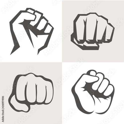 Obraz na plátně Vector hands icon set. Different fist signs.
