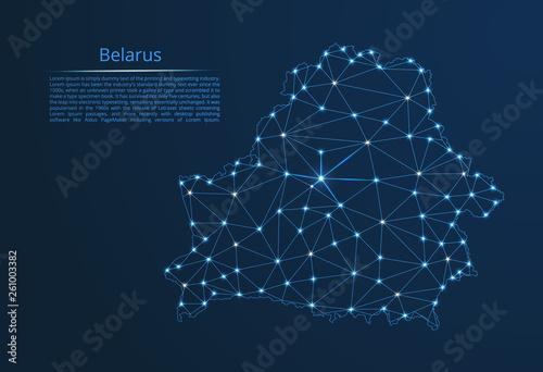 Canvas Print Belarus communication network map