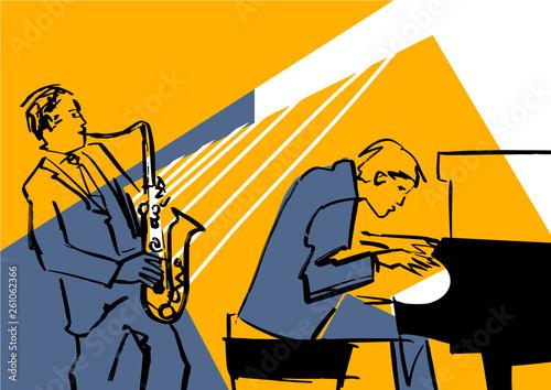Obraz na płótnie Saxophone player and pianist
