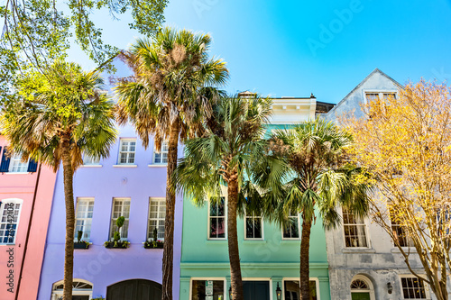 Fototapeta premium Rainbow Row, Charleston SC