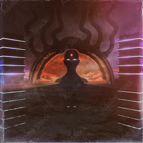 Foto concept art of strange and dark temple environment