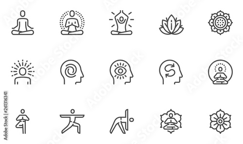 Photographie Meditation Practice and Yoga Vector Line Icons Set