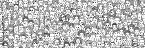 Fotografia Diverse crowd of people: kids, teens, adults and seniors - seamless banner of ha