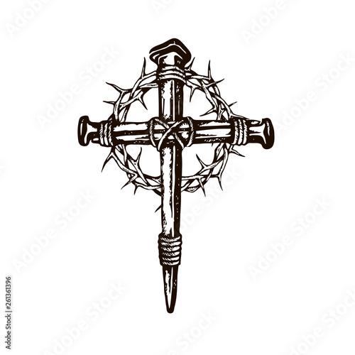 black image of jesus nail cross with thorn crown isolated on white background Tapéta, Fotótapéta