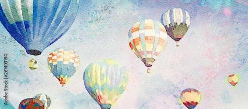 Fényképezés Hot Air Balloons. Watercolor background