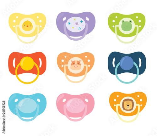 Vászonkép Set of children's pacifiers