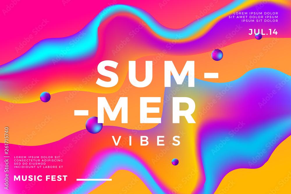 Summer abstract gradient background. Fluid colorful shapes composition. Music fest banner. <span>plik: #261715740 | autor: jack1e</span>