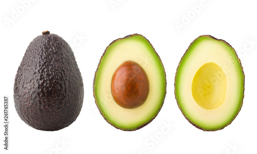 Foto avocado, clipping path, isolated on white background full depth of field
