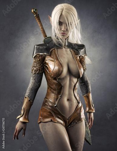 Fototapeta premium Portret fantazja mrocznego elfa żeński wojownik z białymi długimi włosami. Renderowania 3d. Fantazja ilustracja