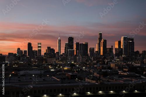 Fotografie, Obraz Colorful Los Angeles skyline at dusk