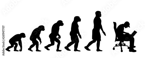 Fotografia Painted theory of evolution of man