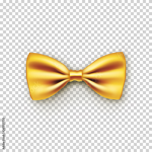 Photo Stylish gold bow tie from satin with shadow