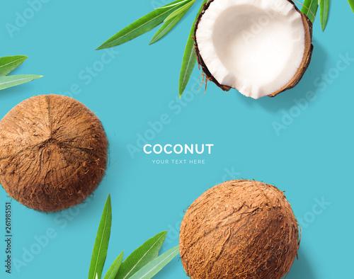 Creative layout made of coconut Fototapeta