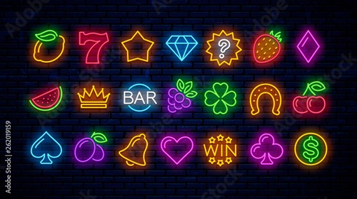 Fotografie, Tablou Vector set of neon gaming icons for casinos