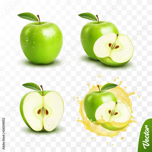 Wall mural 3d realistic transparent isolated vector set, whole and slice of apple, apple in a splash of juice with drops