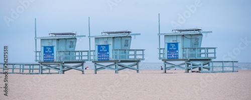 Fotografia Lifeguard towers at Venice Beach California - travel photography