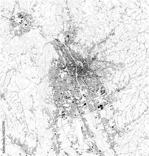 Wallpaper Mural Satellite map of Graz, it is the capital of Styria and the second-largest city in Austria after Vienna