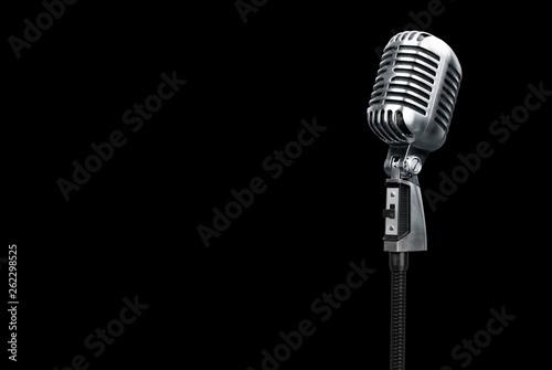 Obraz na płótnie Retro style microphone on black
